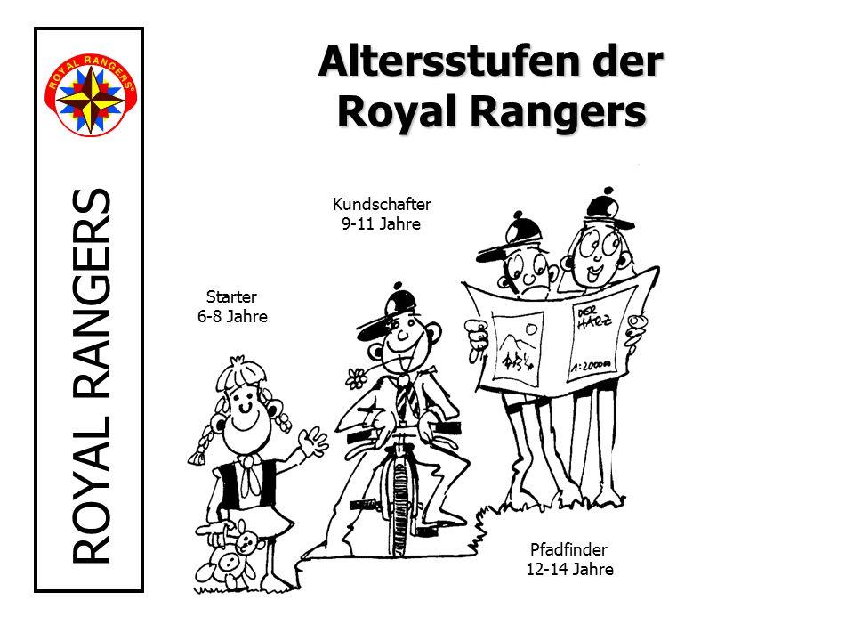 ROYAL RANGERS Starter 6-8 Jahre Kundschafter 9-11 Jahre Pfadfinder 12-14 Jahre Altersstufen der Royal Rangers