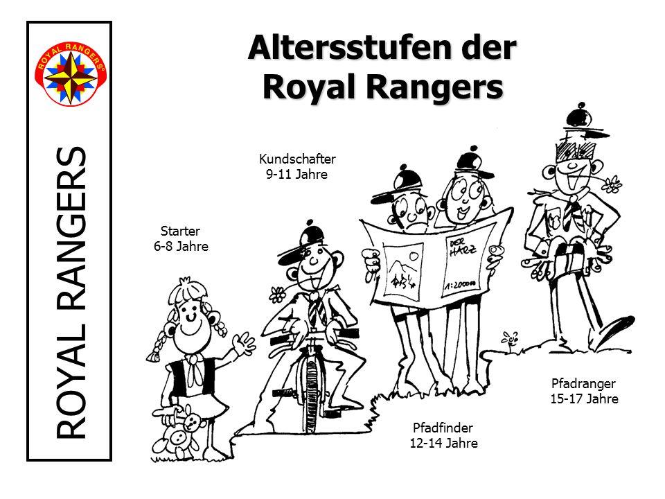 ROYAL RANGERS Starter 6-8 Jahre Kundschafter 9-11 Jahre Pfadfinder 12-14 Jahre Pfadranger 15-17 Jahre Altersstufen der Royal Rangers