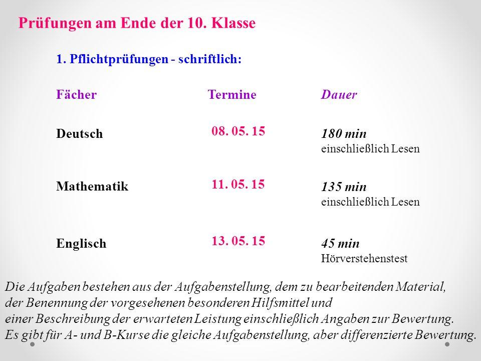 Prüfungen am Ende der 10. Klasse 1. Pflichtprüfungen - schriftlich: FächerTermineDauer Deutsch Mathematik 08. 05. 15 11. 05. 15 180 min einschließlich