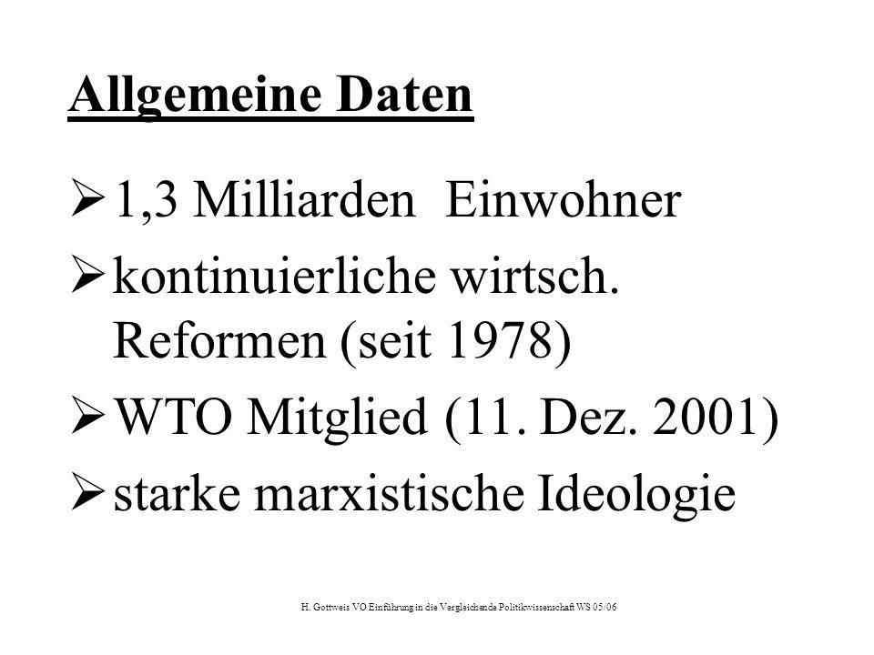 H. Gottweis VO Einführung in die Vergleichende Politikwissenschaft WS 05/06 Allgemeine Daten  1,3 Milliarden Einwohner  kontinuierliche wirtsch. Ref