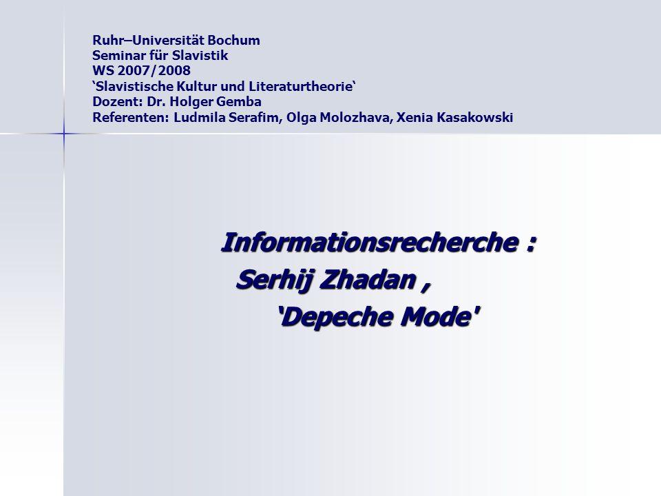 Ruhr–Universität Bochum Seminar für Slavistik WS 2007/2008 'Slavistische Kultur und Literaturtheorie' Dozent: Dr. Holger Gemba Referenten: Ludmila Ser