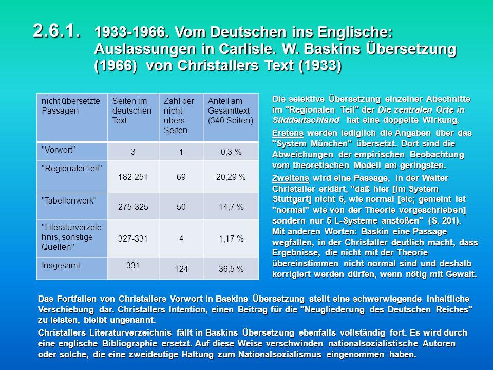 2.6.1. 1933-1966. Vom Deutschen ins Englische: Auslassungen in Carlisle. W. Baskins Übersetzung (1966) von Christallers Text (1933) Die selektive Über