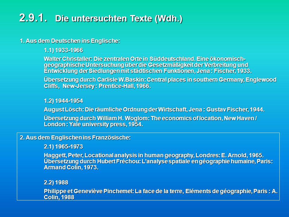1. Aus dem Deutschen ins Englische: 2.9.1. Die untersuchten Texte (Wdh.) 2. Aus dem Englischen ins Französische: 1.1) 1933-1966 Walter Christaller: Di
