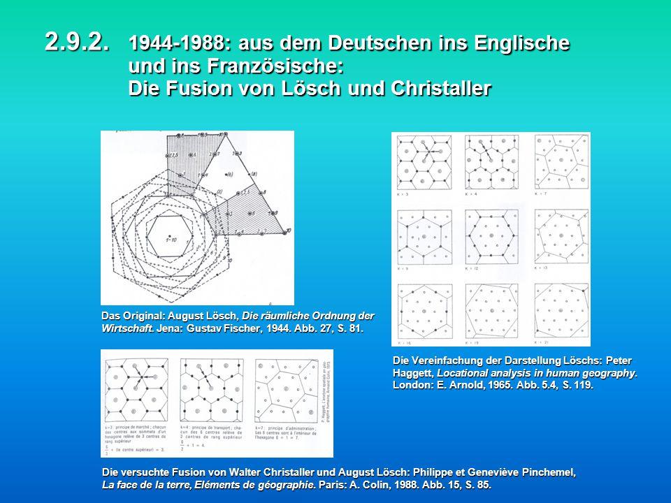 2.9.2. 1944-1988: aus dem Deutschen ins Englische und ins Französische: Die Fusion von Lösch und Christaller 2.9.2. 1944-1988: aus dem Deutschen ins E