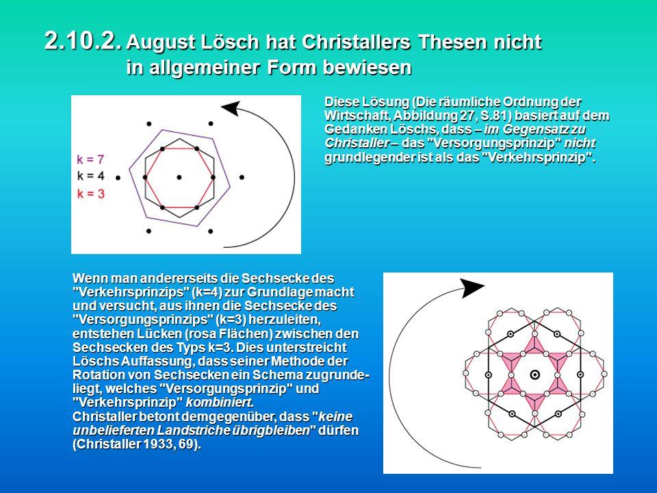 2.10.2. August Lösch hat Christallers Thesen nicht in allgemeiner Form bewiesen Diese Lösung (Die räumliche Ordnung der Wirtschaft, Abbildung 27, S.81