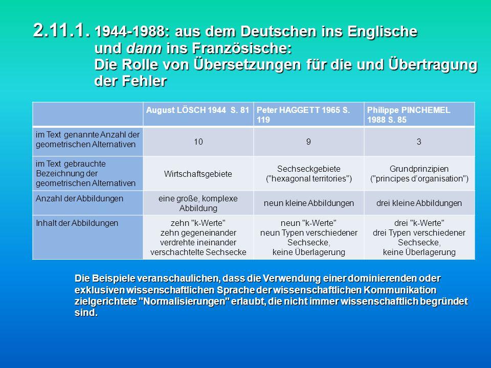 2.11.1. 1944-1988: aus dem Deutschen ins Englische und dann ins Französische: Die Rolle von Übersetzungen für die und Übertragung der Fehler 2.11.1. 1