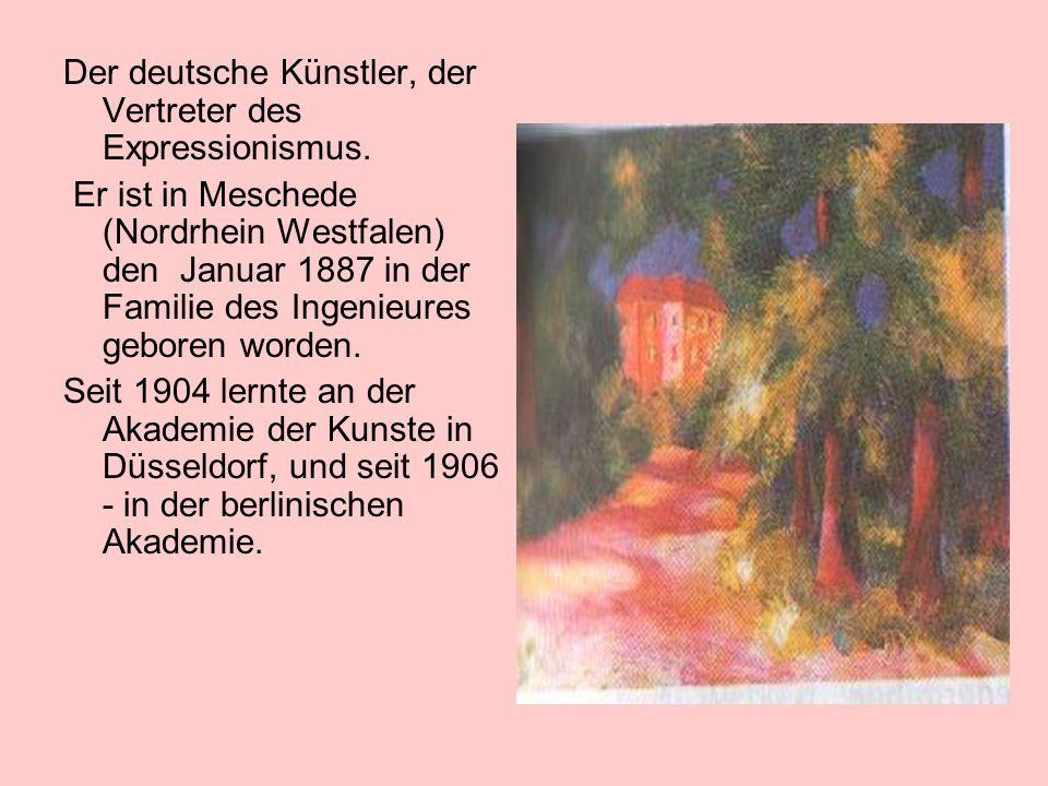 Der deutsche Künstler, der Vertreter des Expressionismus. Er ist in Meschede (Nordrhein Westfalen) den Januar 1887 in der Familie des Ingenieures gebo