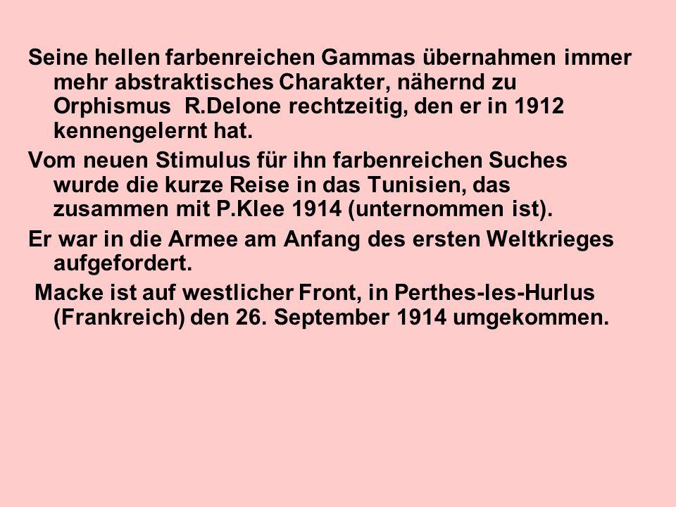 Seine hellen farbenreichen Gammas übernahmen immer mehr abstraktisches Charakter, nähernd zu Orphismus R.Delone rechtzeitig, den er in 1912 kennengele