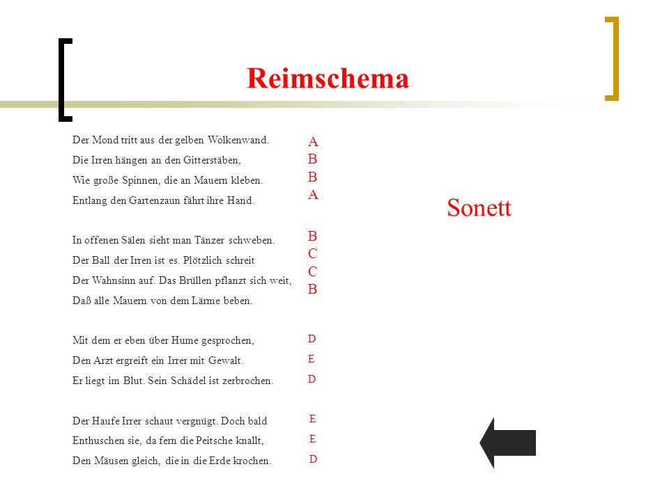 Gliederung 1.ReimschemaReimschema 2.MetrumMetrum 3.EnjambementsEnjambements 4.PersonifikationenPersonifikationen 5.VergleicheVergleiche 6.Im Überblick