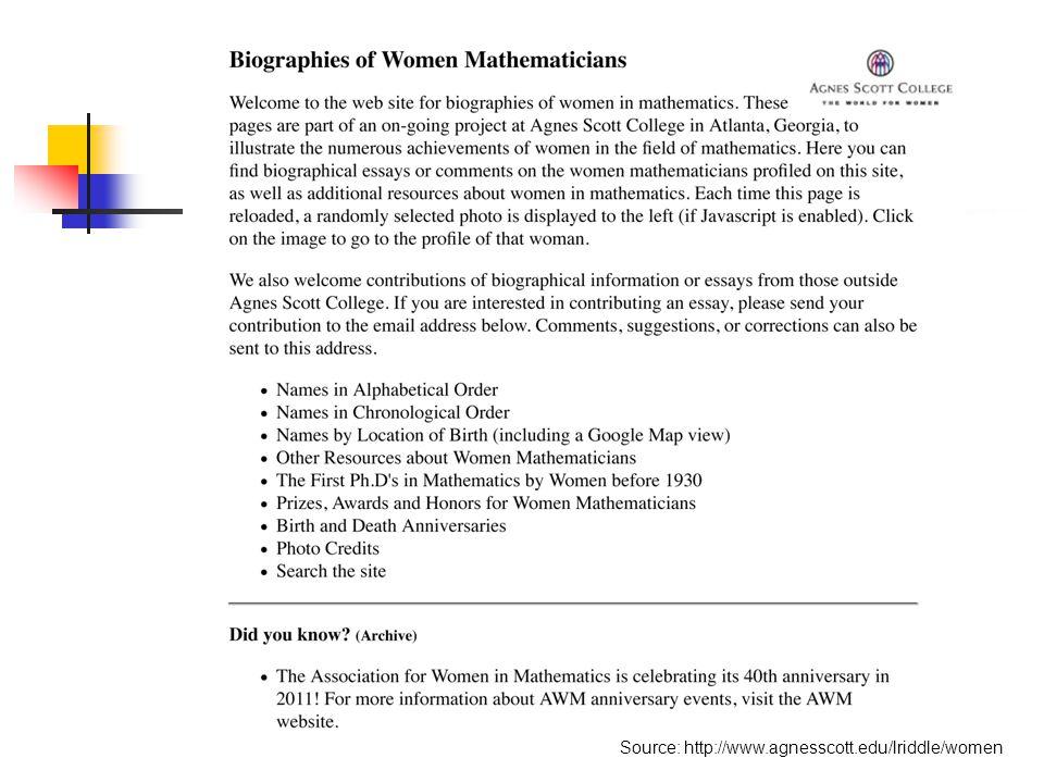Source: http://www.agnesscott.edu/lriddle/women