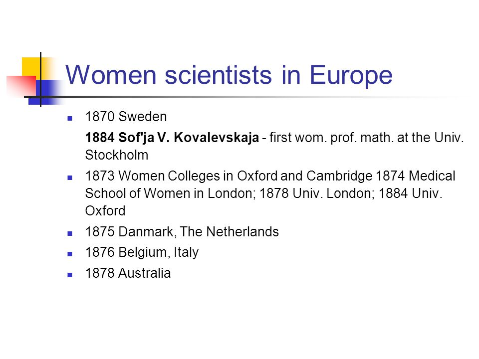 Women scientists in Europe 1884 Norway 1912 Kristine E.