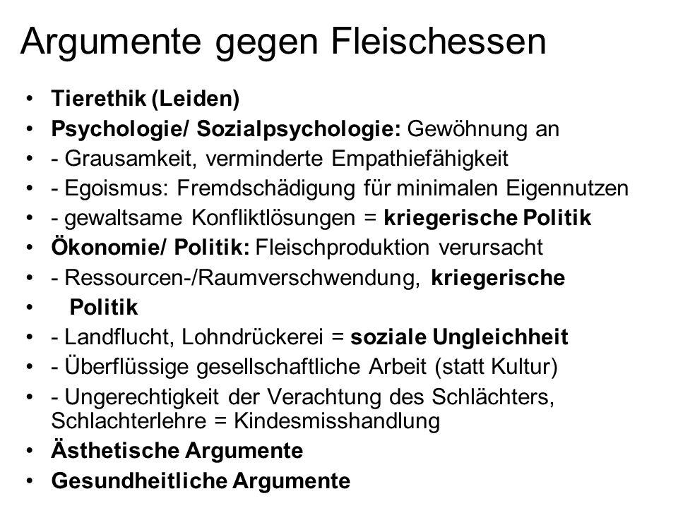 Argumente gegen Fleischessen Tierethik (Leiden) Psychologie/ Sozialpsychologie: Gewöhnung an - Grausamkeit, verminderte Empathiefähigkeit - Egoismus:
