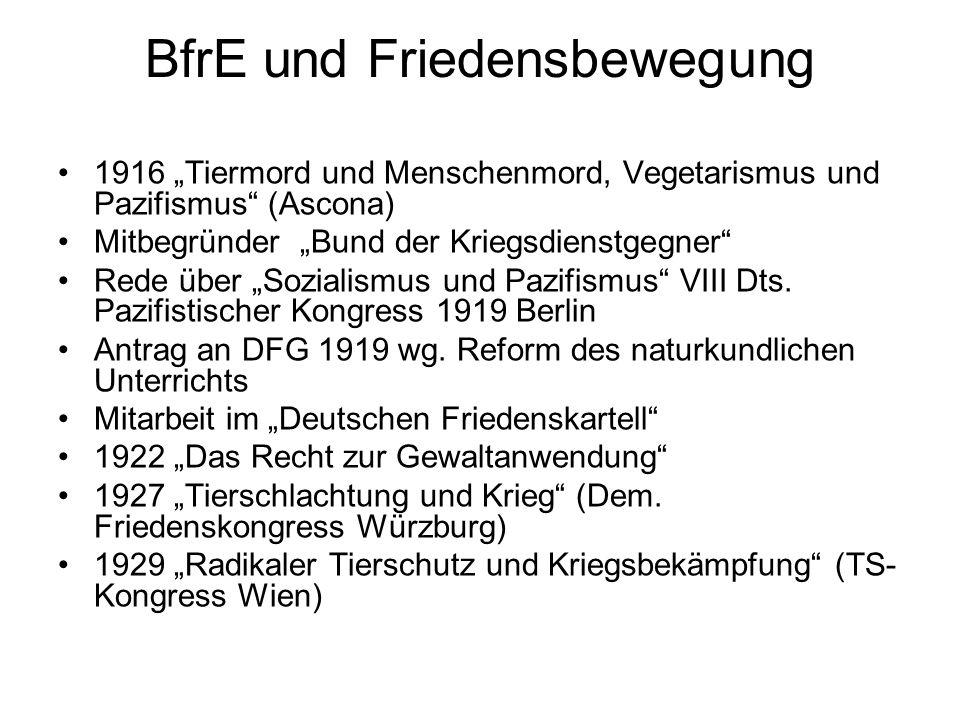 """BfrE und Friedensbewegung 1916 """"Tiermord und Menschenmord, Vegetarismus und Pazifismus"""" (Ascona) Mitbegründer """"Bund der Kriegsdienstgegner"""" Rede über"""