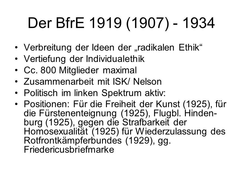 """Der BfrE 1919 (1907) - 1934 Verbreitung der Ideen der """"radikalen Ethik"""" Vertiefung der Individualethik Cc. 800 Mitglieder maximal Zusammenarbeit mit I"""