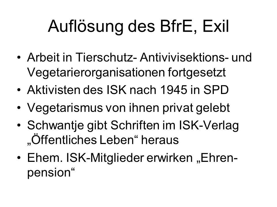 Auflösung des BfrE, Exil Arbeit in Tierschutz- Antivivisektions- und Vegetarierorganisationen fortgesetzt Aktivisten des ISK nach 1945 in SPD Vegetari