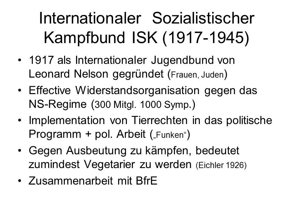 Internationaler Sozialistischer Kampfbund ISK (1917-1945) 1917 als Internationaler Jugendbund von Leonard Nelson gegründet ( Frauen, Juden ) Effective