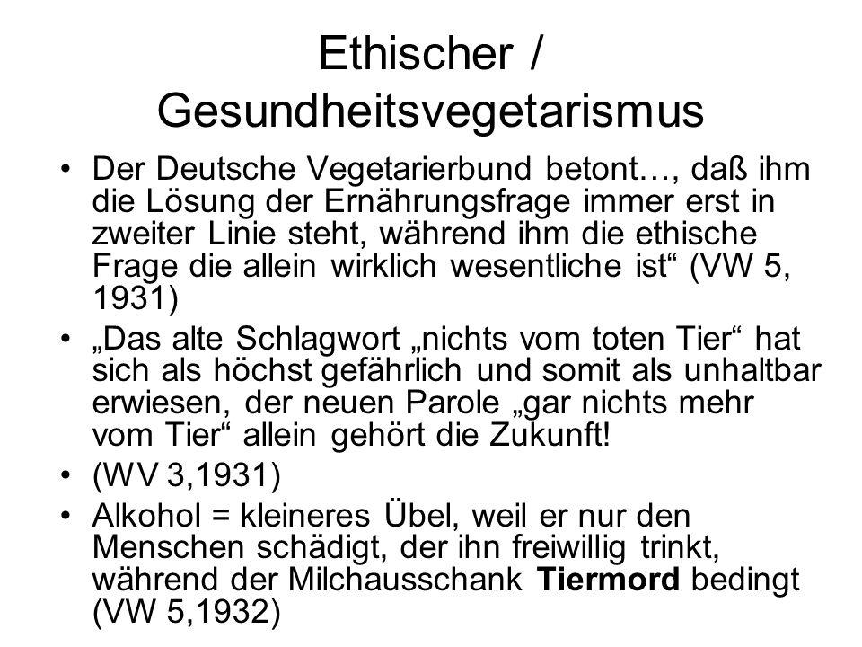 Ethischer / Gesundheitsvegetarismus Der Deutsche Vegetarierbund betont…, daß ihm die Lösung der Ernährungsfrage immer erst in zweiter Linie steht, wäh