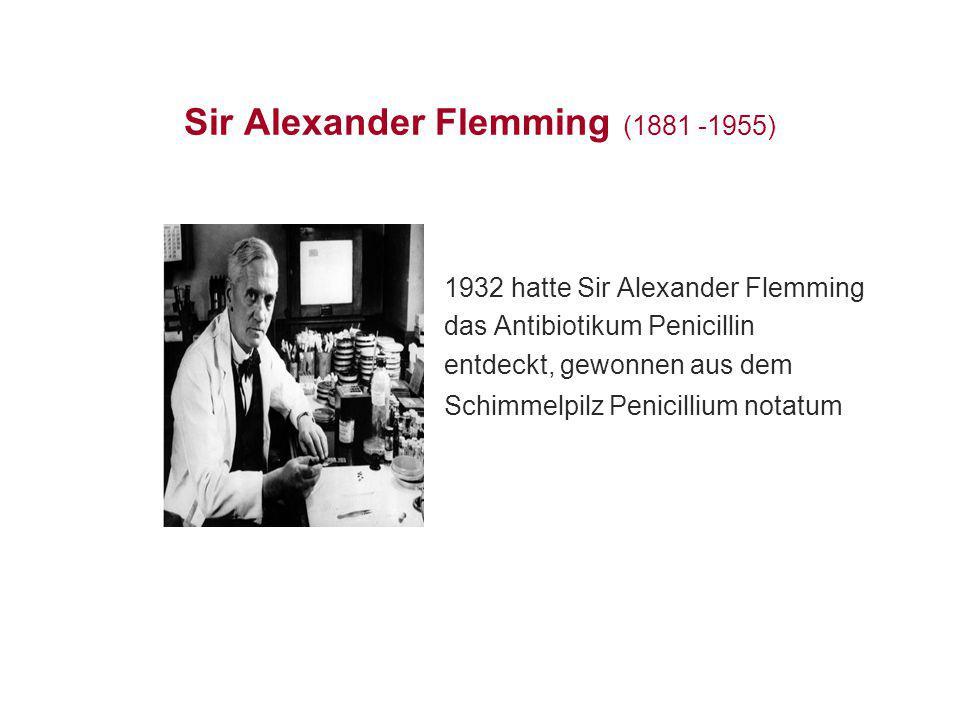 Sir Alexander Flemming (1881 -1955) 1932 hatte Sir Alexander Flemming das Antibiotikum Penicillin entdeckt, gewonnen aus dem Schimmelpilz Penicillium