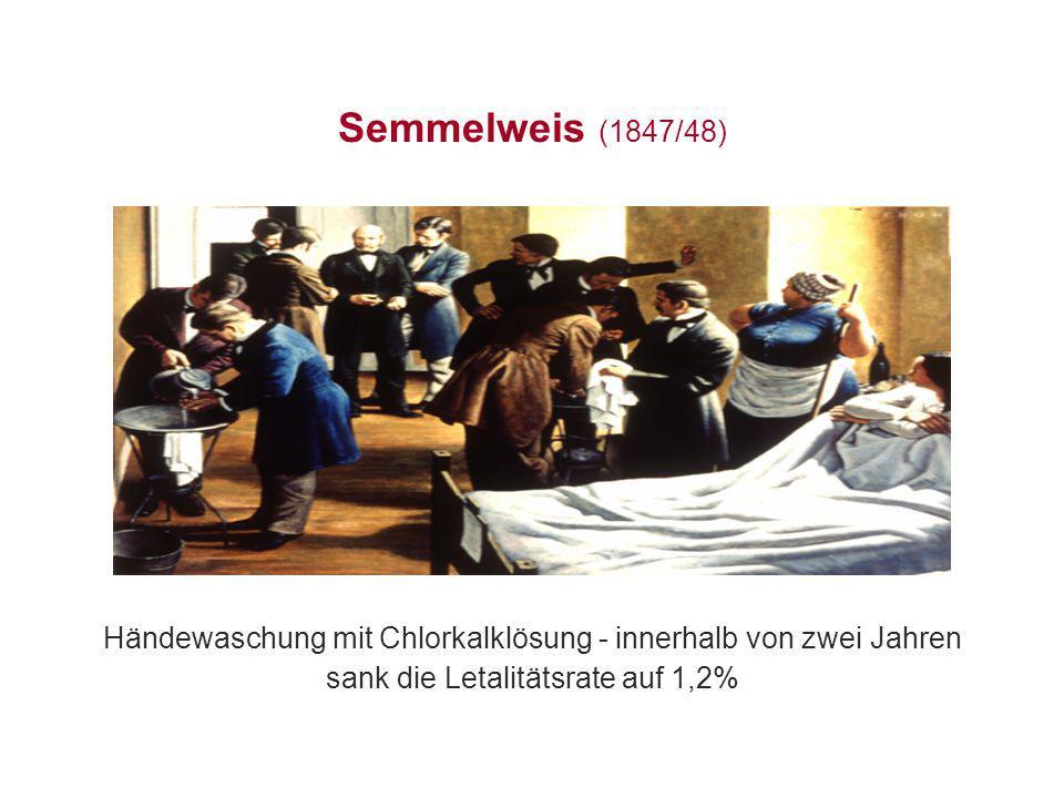 Semmelweis (1847/48) Händewaschung mit Chlorkalklösung - innerhalb von zwei Jahren sank die Letalitätsrate auf 1,2%