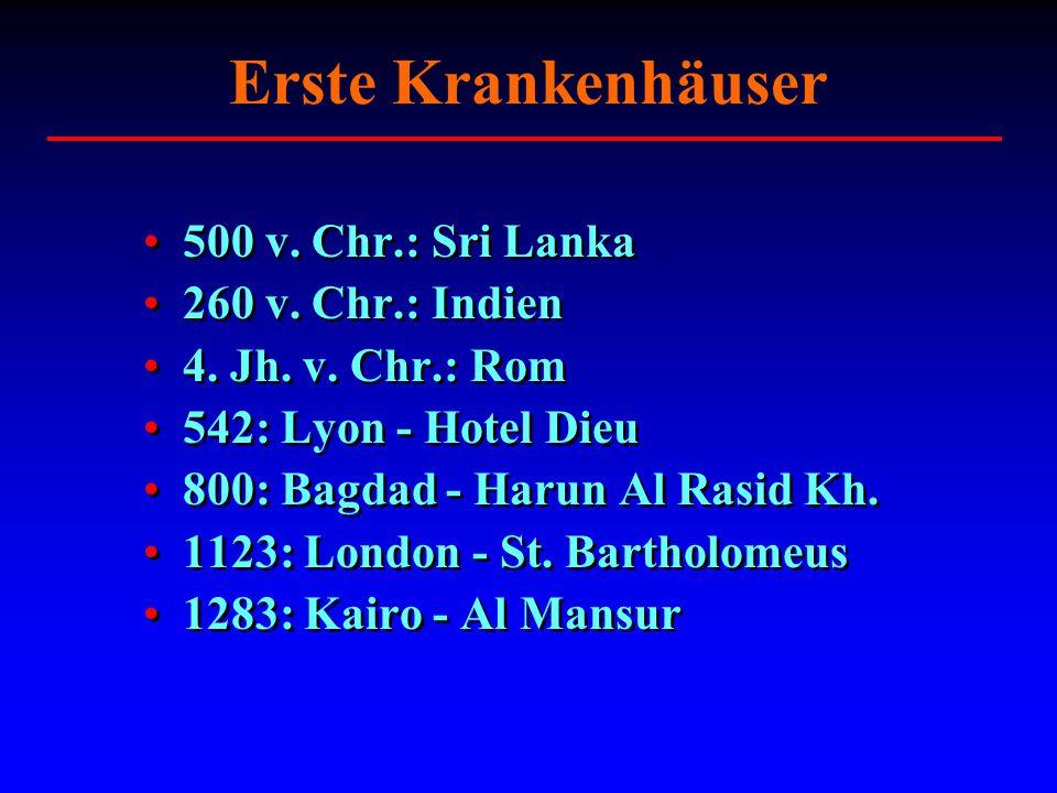 Erste Krankenhäuser 500 v. Chr.: Sri Lanka 260 v. Chr.: Indien 4. Jh. v. Chr.: Rom 542: Lyon - Hotel Dieu 800: Bagdad - Harun Al Rasid Kh. 1123: Londo
