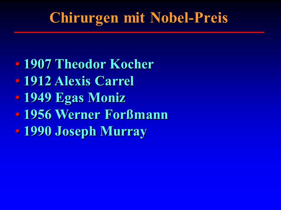 1907 Theodor Kocher 1912 Alexis Carrel 1949 Egas Moniz 1956 Werner Forßmann 1990 Joseph Murray 1907 Theodor Kocher 1912 Alexis Carrel 1949 Egas Moniz