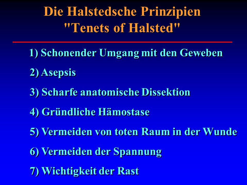 1) Schonender Umgang mit den Geweben 2) Asepsis 3) Scharfe anatomische Dissektion 4) Gründliche Hämostase 5) Vermeiden von toten Raum in der Wunde 6)