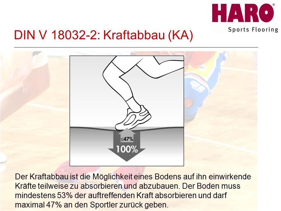 DIN V 18032-2: Kraftabbau (KA) Der Kraftabbau ist die Möglichkeit eines Bodens auf ihn einwirkende Kräfte teilweise zu absorbieren und abzubauen.