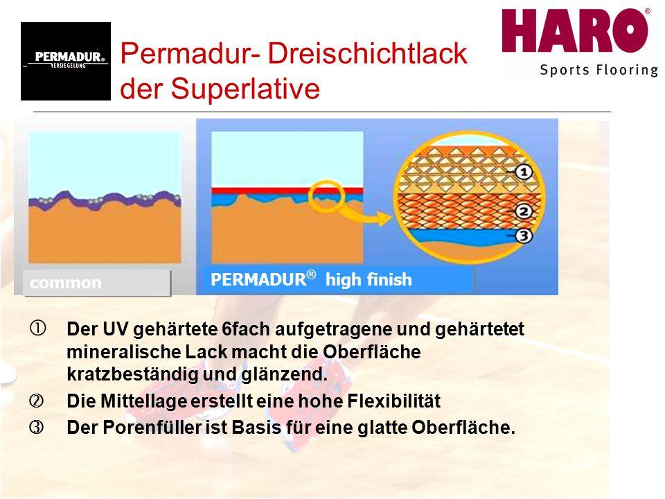 Permadur- Dreischichtlack der Superlative  Der UV gehärtete 6fach aufgetragene und gehärtetet mineralische Lack macht die Oberfläche kratzbeständig und glänzend.