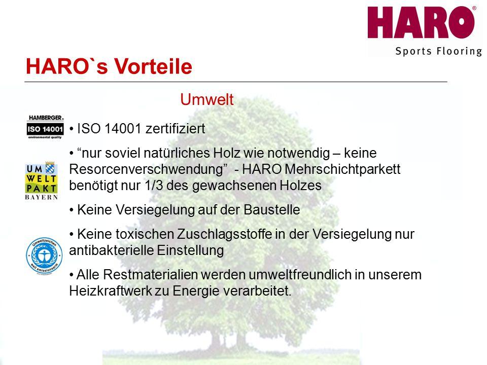 ISO 14001 zertifiziert nur soviel natürliches Holz wie notwendig – keine Resorcenverschwendung - HARO Mehrschichtparkett benötigt nur 1/3 des gewachsenen Holzes Keine Versiegelung auf der Baustelle Keine toxischen Zuschlagsstoffe in der Versiegelung nur antibakterielle Einstellung Alle Restmaterialien werden umweltfreundlich in unserem Heizkraftwerk zu Energie verarbeitet.
