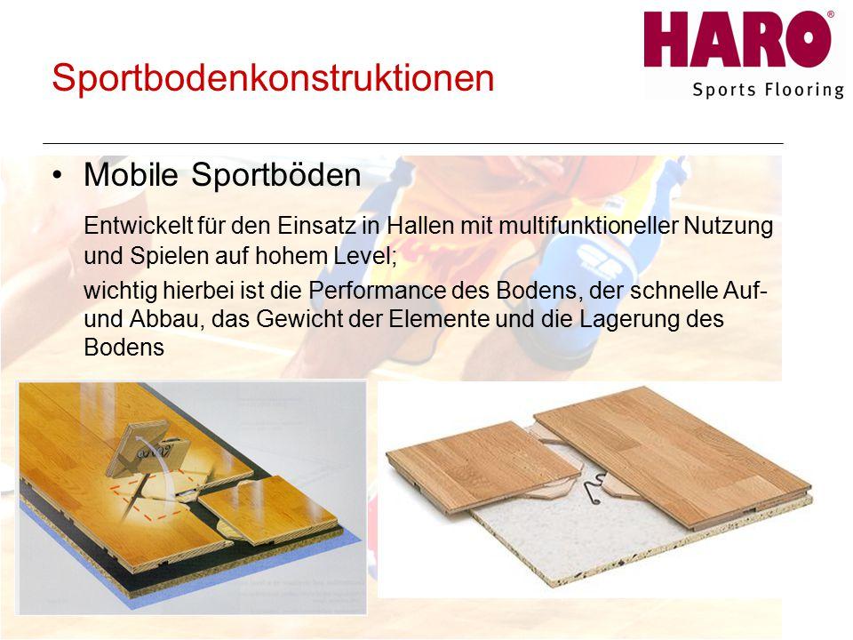 Sportbodenkonstruktionen Mobile Sportböden Entwickelt für den Einsatz in Hallen mit multifunktioneller Nutzung und Spielen auf hohem Level; wichtig hierbei ist die Performance des Bodens, der schnelle Auf- und Abbau, das Gewicht der Elemente und die Lagerung des Bodens