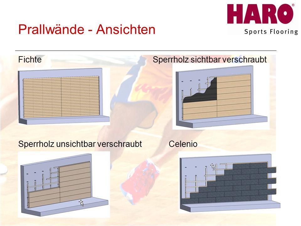 Prallwände - Ansichten Fichte Sperrholz sichtbar verschraubt Sperrholz unsichtbar verschraubtCelenio