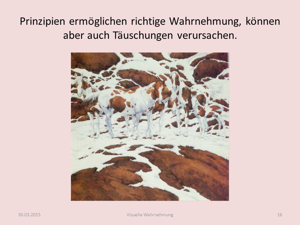 Elemente der Gestalttheorie Bewusstseinsorganisation Figur-Grund-Trennung (Edgar Rubin, 1915) Abb.6 30.03.2015Visuelle Wahrnehmung17