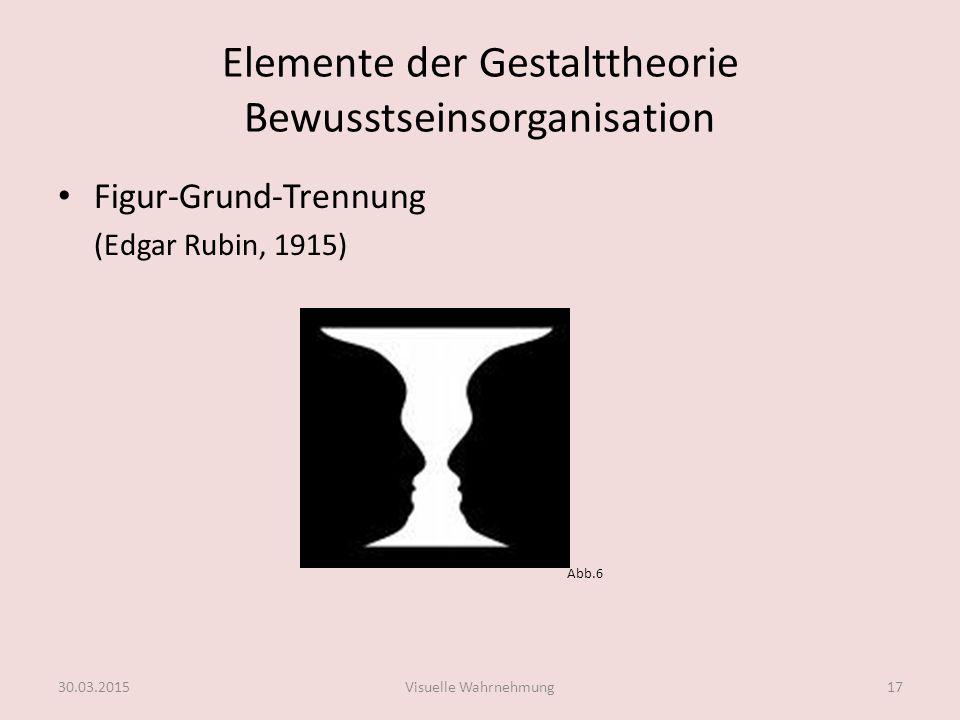 Elemente der Gestalttheorie Bewusstseinsorganisation Wahrnehmungssystem fasst bestimmte Anordnungen bevorzugt als Bezugssystem auf und ordnet andere Gegenstände in dieses ein.