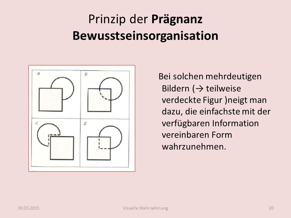 Prinzip der Prägnanz Bewusstseinsorganisation Bei solchen mehrdeutigen Bildern (→ teilweise verdeckte Figur )neigt man dazu, die einfachste mit der ve