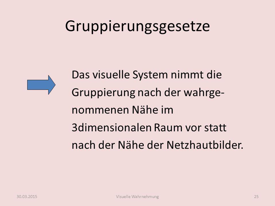 Gruppierungsgesetze Das visuelle System nimmt die Gruppierung nach der wahrge- nommenen Nähe im 3dimensionalen Raum vor statt nach der Nähe der Netzha