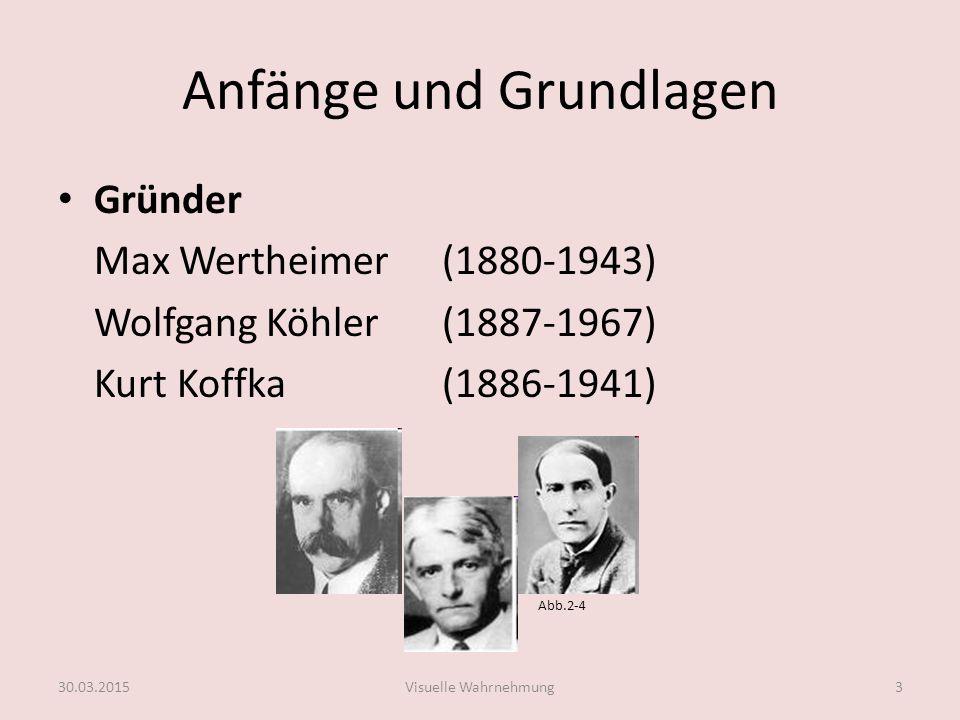Anfänge und Grundlagen Gründer Max Wertheimer(1880-1943) Wolfgang Köhler(1887-1967) Kurt Koffka(1886-1941) Abb.2-4 30.03.2015Visuelle Wahrnehmung3