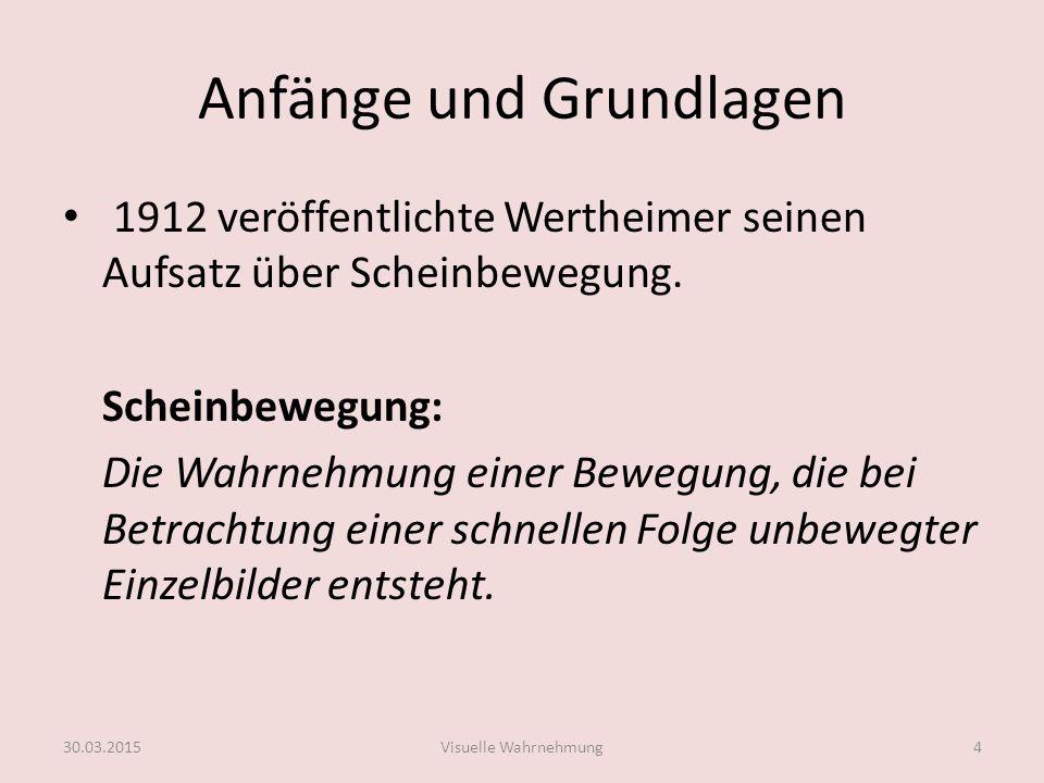 Anfänge und Grundlagen 1912 veröffentlichte Wertheimer seinen Aufsatz über Scheinbewegung. Scheinbewegung: Die Wahrnehmung einer Bewegung, die bei Bet