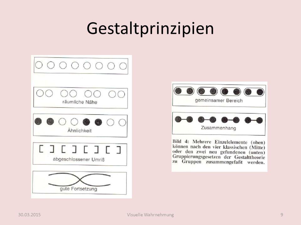 Gestaltprinzipien Prinzip der Nähe Dinge, die sich nahe beieinander befinden, erscheinen als zusammengehörig.