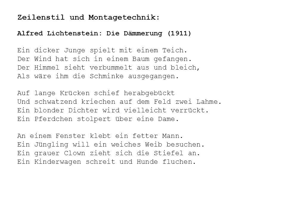 """Themen: Verfall Untergang Ich-Zerfall Großstadt Krieg Krankheit Wahnsinn Hässlichkeit Sinnlichkeit """"Menschheitsdämmerung (1920) von Pinthus """"Sturz und Schrei """"Aufruf und Empörung """"Liebe den Menschen """"Erweckung des Herzens"""