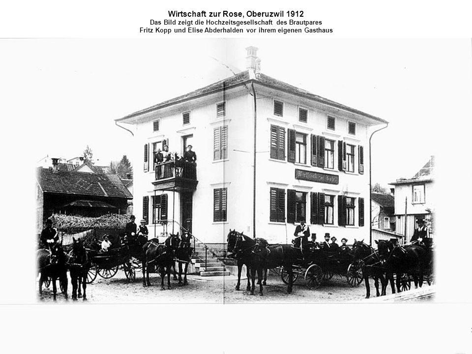 Wirtschaft zur Rose, Oberuzwil 1912 Das Bild zeigt die Hochzeitsgesellschaft des Brautpares Fritz Kopp und Elise Abderhalden vor ihrem eigenen Gasthau