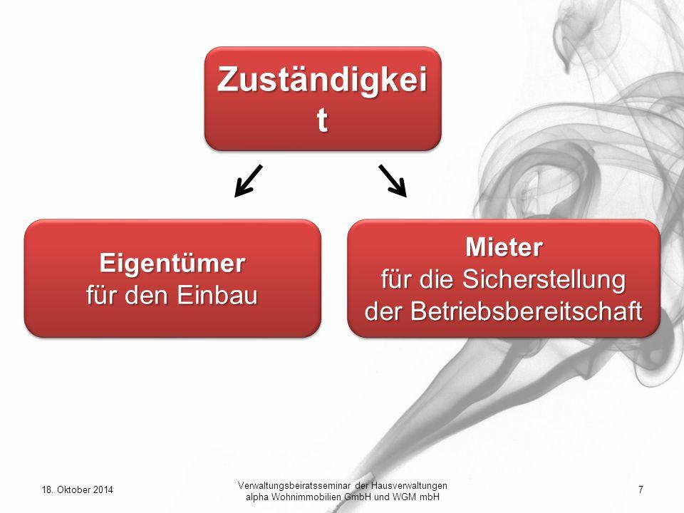 18. Oktober 20147 Verwaltungsbeiratsseminar der Hausverwaltungen alpha Wohnimmobilien GmbH und WGM mbH Zuständigkei t Eigentümer für den Einbau Eigent