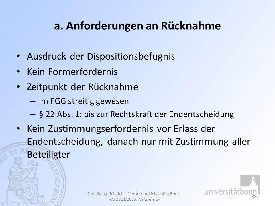 a. Anforderungen an Rücknahme Ausdruck der Dispositionsbefugnis Kein Formerfordernis Zeitpunkt der Rücknahme – im FGG streitig gewesen – § 22 Abs. 1:
