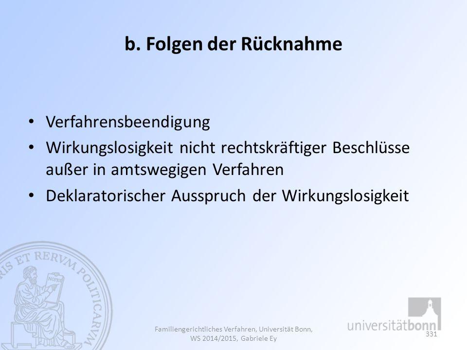 b. Folgen der Rücknahme Verfahrensbeendigung Wirkungslosigkeit nicht rechtskräftiger Beschlüsse außer in amtswegigen Verfahren Deklaratorischer Ausspr