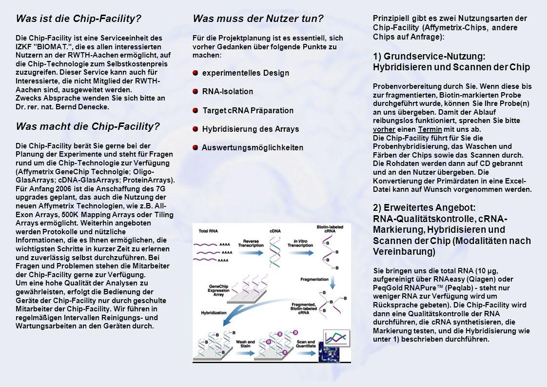 Was muss der Nutzer tun? Für die Projektplanung ist es essentiell, sich vorher Gedanken über folgende Punkte zu machen: experimentelles Design RNA-Iso
