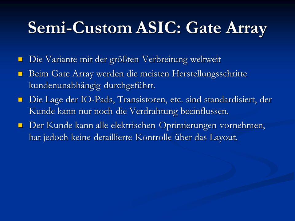Semi-Custom ASIC: Gate Array Die Variante mit der größten Verbreitung weltweit Die Variante mit der größten Verbreitung weltweit Beim Gate Array werde