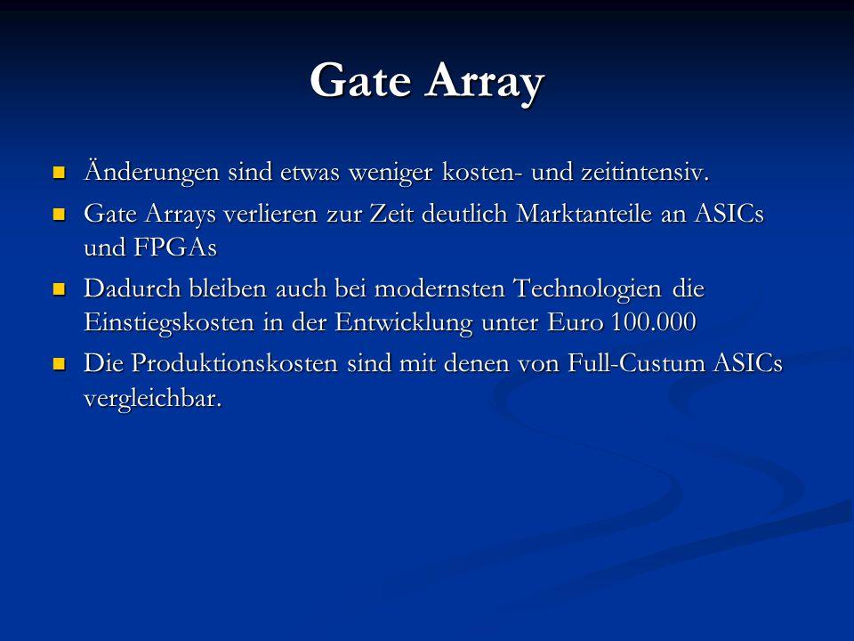 Gate Array Änderungen sind etwas weniger kosten- und zeitintensiv. Änderungen sind etwas weniger kosten- und zeitintensiv. Gate Arrays verlieren zur Z
