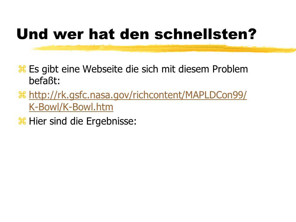 Und wer hat den schnellsten? zEs gibt eine Webseite die sich mit diesem Problem befaßt: zhttp://rk.gsfc.nasa.gov/richcontent/MAPLDCon99/ K-Bowl/K-Bowl