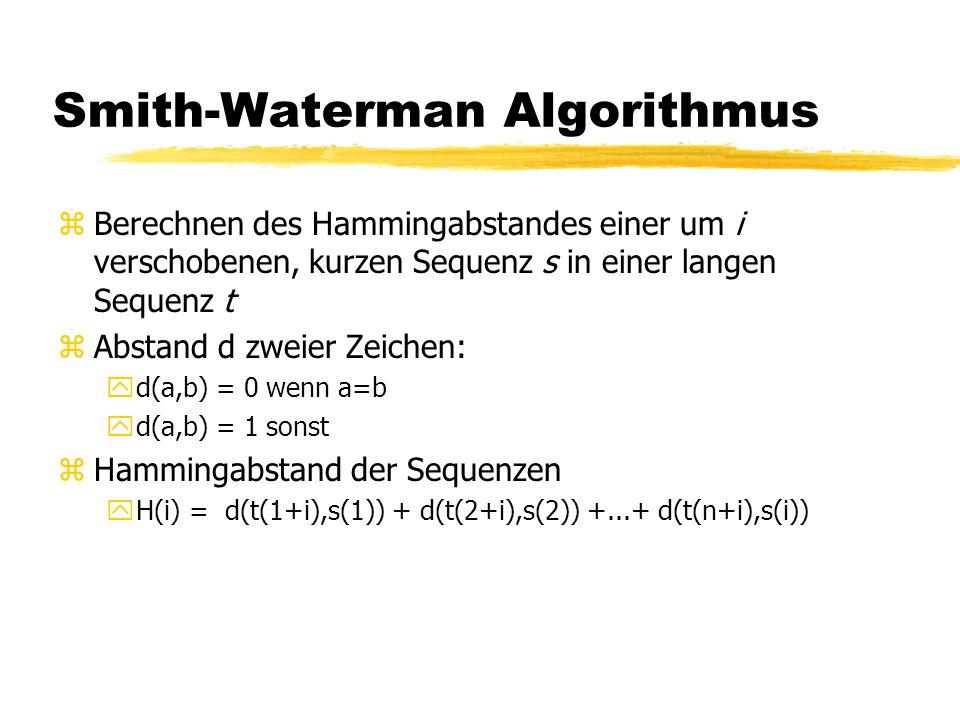 Smith-Waterman Algorithmus zBerechnen des Hammingabstandes einer um i verschobenen, kurzen Sequenz s in einer langen Sequenz t zAbstand d zweier Zeichen: yd(a,b) = 0 wenn a=b yd(a,b) = 1 sonst zHammingabstand der Sequenzen yH(i) = d(t(1+i),s(1)) + d(t(2+i),s(2)) +...+ d(t(n+i),s(i))