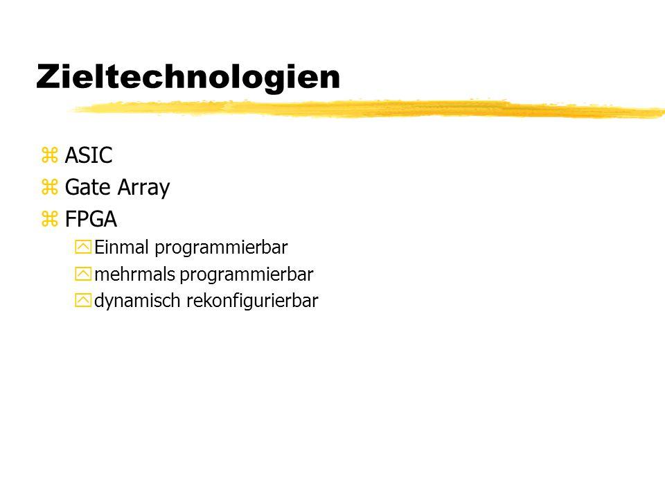 Zieltechnologien zASIC zGate Array zFPGA yEinmal programmierbar ymehrmals programmierbar ydynamisch rekonfigurierbar