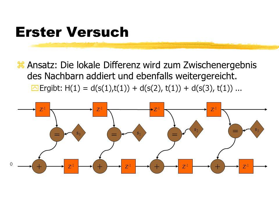 Erster Versuch zAnsatz: Die lokale Differenz wird zum Zwischenergebnis des Nachbarn addiert und ebenfalls weitergereicht. yErgibt: H(1) = d(s(1),t(1))